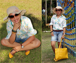 Ms. Chique - Nordstrom Leather Braided Belt, Sm Hat, Waltham Watch, Chinese Store Jade, Citrine, Tiger's Eye Beads, Accessorize Feather Earings, Anadism Floral Longsleeve, Litmus Denim City Shorts, S&H Yellow Flats, Eleven Sunglass, Chicago Lemon Leather Bag - Nature Walk