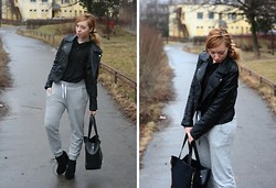 Joll Burr - Jacket, H&M Sweatpants, New Yorker Blouse, Totebag - Swatpants