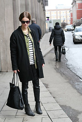 Sara Strand - Sixtyseven Shoes, Bik Bok Leather Pants, Zara Bag, Samsøe & Coat, Second Hand Military Jacket, Lindex Cat Eyes - 090312