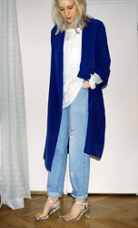 C V - Cheap Monday Jacket, Monki Sweater, Levi's® Jeans, Touch Ups Shoes - Blue and clear