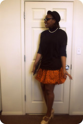 Joy U - Zara Turtle Neck, H&M Top, H&M Hat, Forever 21 Heels, Cold Water Creek Pearls - Oui Oui Oui I designed that skirt