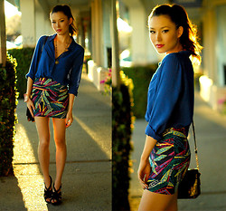 Jessica R. - Old Navy Shirt, Pacsun Skirt, Aldo Heels, Trend Essentials Cuff - Rich Colors + Giveaway on my blog
