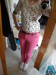 Beverley Bowen - Primark Coloured Jeans, Primark Bird Jumper/Top, Primark Shoes - Pink like candy floss