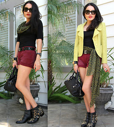 Chanelle M - Chanel Belt, St. John Jacket, Theory Top, Bcbg Shorts, Bcbg Scarf, Chanel Bag, Chloé Boots - Red Wine