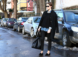 Sara Strand - Zara Loafers, Samsøe & Coat, H&M Shirt, Glitter Necklace, Gucci Sunglasses, Zara Bag, Bik Bok Jeans - 100312