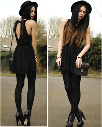 LYDIA ELISE MILLEN . - Love Black Chiffon Open Back Dress - ALL BLACK EVERYTHING