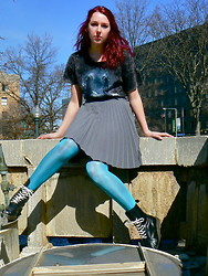 Lauren S. - Urban Outfitters Tee, Urban Outfitters Pleated Skirt, Target Tights, Docs With New Laces - No! Jimmy Protested