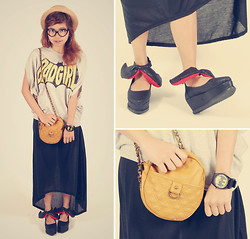 Kaila Ocampo - Spinns Bad Girl Top, Pop Girl Black Long Skirt, Mustache / Bow / Winged Platform Boots, Harajuku Batman Watch, Macau Yellow Small Bag - BAD GIRL