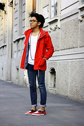 Jerome Centeno - Zara Red Parka, Zara White Tee, Lee Skinny Jeans, Zara Red Boat Shoes - RED