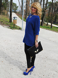 Francesca Romana C - H&M Sweater, 7 For All Mankind Black Jeans, Yves Saint Laurent Tribtoo, Asos Envelope Clutch - Tribtoo