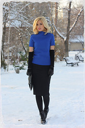 Dana Rogoz - Zara Top, H&M Gloves, Zara Pencil Skirt, H&M Clutch, Asos Boots - Contrast vision
