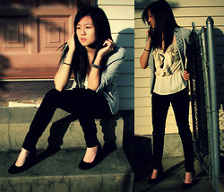 Elaine L - Juicy Couture Studded Blazer, H&M Chiffon Top, Suede Wedges - Fifteen's First