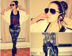 Kai G - Vintage Tank, Forever 21 Cardigan, American Apparel Checkered Tights, Steve Madden Ruffled Heels - Music is my boyfriend