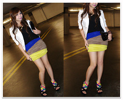 Shar Regis - Ruched Colorblock Skirt, Strap Wedges, Greenhills Shopping Center Inner Top, Forever 21 White Blazer, Sm Dept. Store Clutch Bag - Rainbow Palette