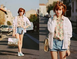 Typhaine - Vintage Shirt, Shorts And Jacket, Romwe Bag, New Look Shoes - Open your heart.