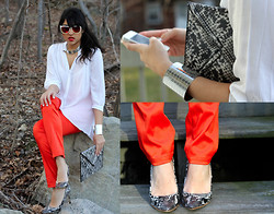 Naina Kamath - H&M Silver Choker, H&M Neon Silk Pants, H&M Snake Print Clutch, H&M Silver Cuff, H&M Snake Print Heels, American Eagle Outfitters Mirrored Sunglasses - Easy Prey