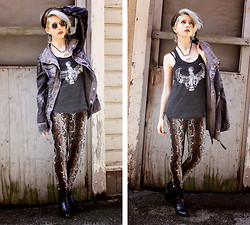 Kat W. - Spencer's Axe Earrings, Fanneuil Hall, Boston Tie Dye Scarf, Crash & Burn Apparel Berlin Utility Jacket, Darkness And Dawn Horus Tank Top, Ebay Snakeskin Leggings, Ebay Cowboy Ankle Boots, Round Shades, Birthday Gift Antique Vishnu Necklace - Burn the Desert