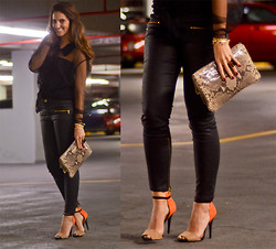 Eugy Alliegro - Zara Leather Pants, Zara Sandals, Michael Kors Clutch, Goodwill Sheer Blouse - Rock&roll all night