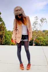 Gina Y - 7 For All Mankind Shorts, Jeffrey Campbell Shoes, Express Blazer, H&M Hat - BRR.