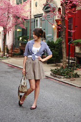 Josie Michelle - J. Crew Shirt, Gap Skirt, Gap Tank, Gap Ballet Flats, Thrifted Bag - Spring Day