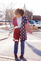 Bianca X - French Connection Uk Chambray, Vintage Flag Sweater, Mom Jeans (Vintage), Vintage Boots - Don't call me a flag