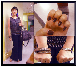 Andi Velasquez - Wilson's Wood And Metal Bangles, Verso By Anne Bicheilmer Wide Legged Troussers, Polka Dot Top, Chloé Satchel Brown Bag, Wilson's Native Beaded Belt, Wilson's Purple Peacock Feather Earrings, Le Chic Auburn Red Polish, Fossil F2 Watch - Another day with my dear <3