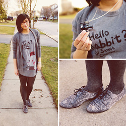 Dee Chiang - My Mommy's Closet. Gray Cardigan, Dodostyle Rabbit T Shirt, Pacsun Helicopter Necklace, Forever 21 Shoes - Silly Rabbit