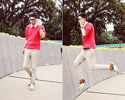 Fahmi Ramadhan - Nike Sneakers, Topman Jeans - Man in red