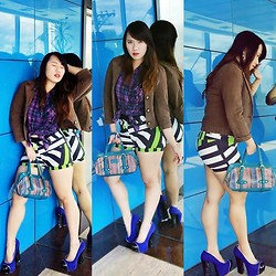 Madeline Camille Agustin - Guess? Guess Purple Checkered Polo, Guess? Guess Blazer, Shapes Striped Shorts, Kate Spade Teal Woven Leather Bag, High Style Fancy Blue Chunky Heeled Pumps - STRANGER THAN FICTION
