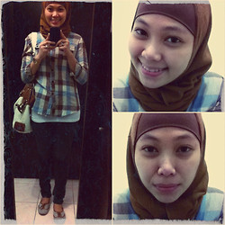 Aisah Dee - Pashmina Headscarf, Ziya Checkered Blouse (Brown), Vintage Brown Bag, Reva Flat Striped Shoes, Denim - Brown it is <3