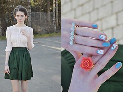 Laura R. - H&M Shirt, H&M Skirt, Primark Doublefingerring, Topshop Rosering - Rose and hearts