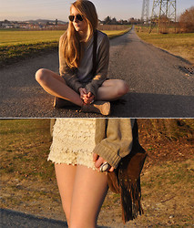 TIPHAINE MARIE - Vintage Suede Bag, H&M Ring, H&M Golden Necklace, Ray Ban Sunnies, Forever 21 Beige Cardigan, Zara Studded Booties, Zara Lace Shorts - HOME IS WHEREVER I'M WITH YOU