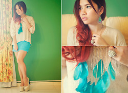 "Kisty Mea - Cotton On Top, Cotton On Skirt, Pill Clothing And Footwear ""Vertebrae"" Shoes, Accessorize Dreamcatcher Inspired Earring, Forever 21 Studded Ring, Forever 21 Feathered Necklace - Deep Sky Blue"