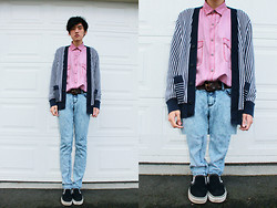 Laurence L. - Vintage Pink Silk Shirt, Tommy Vertical Stripes Knitted Cardigan, Urban Outfitters Pale Blue Skinnies, Vans, Vintage Belt - Calm down, just chill.