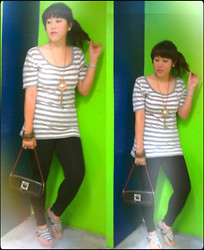 Andi Velasquez - Dooney & Bourke Black Purse, Winx Silver Beaded Sandals, Gray Striped Top, Wilson's Tassled  Embelish Necklace, Winx Leggings - No ordinary gray day <3