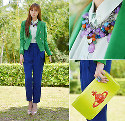 Camille Co - Sheinside Blazer, Girls Are Weird Necklace, Crave More Rings, Extreme Finds Ring - Leprechaun