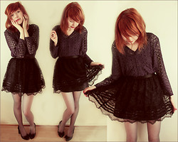 Mimosa Kuu - Forever 21 Lace Skirt, Second Hand Lace Sweater, Ellos Bow Heels - Jono, he went solo 'cause yoko said oh no.