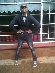 Bongani Tau - Birlin Shades, Markham Bowtie, Mr Price White Shirt, Trigger Double Breast Knitted Cardigan, Meltz Jeans, Markham Sneakers - C-pose