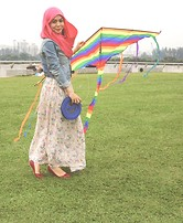 Dalillah Ismail - Topshop Light Washed Denim Jacket, Thrifted Vintage Skirt, New Look Ballerina Flats - Under the sun