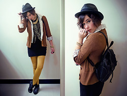 Sophia Mayrhofer - Opitz Outlet Textured Brown Cardigan, Pimkie Mustard Tights, New Yorker Fold Over Lace Ups, Street Shop Straw Fedora, Various Gold Jewelry, Fleamarket Vintage Leather Backpack, Fleamarket Lace Blouse, Thrifted Leopard Blouse Tied In Front - Language is the liquid that we're all dissolved in