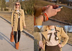 Julianna Ivicic - New Yorker Trenchcoat, Gate 78 T Shirt, Lindex Orange Bracelet, Topshop Gold Spike Bracelet, Asos Bag, Nelly Wedges Boots - Orange sun