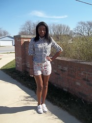Kiera Allen - Marshalls Stripe Blouse, Forever 21 Floral Print Shorts, Target Floral Print Canvas Shoes - Sunny and Eighty