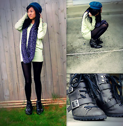Elaine L - Diy Infinity Scarf, Crochet Beanie, Leather Ankle Boots - I won't wear grey on a rainy day.