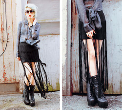 Kat W. - Crash & Burn Apparel Allesandro Tunic, The Cultlabel Long Tassel Skirt, Jeffrey Campbell Black Leather Stevie, Hootenany's, The Garage, Cambridge Ma Round Shades, Little Sister Designs Brass Claw Earrings - CULT Classic