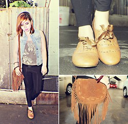 Patchie Valerio - Brandy And Melville Denim Vest, Old Navy Sheer Sequin, Love Eden In Bag, Oxfords - SEQUIN AND DENIM