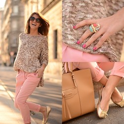 Alexandra Per - Blanco Pants, Dimoni Bag, Blanco Flats, Love Sweater, Romwe Ring - Sweet pastel