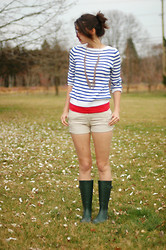 Josie Michelle - Ralph Lauren Sweater, Gap Necklace, Gap Tank, J. Crew Shorts, Walmart Boots - Rainy Day