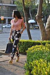 Gina Ortega - Zara Sandals, 3.1 Phillip Lim Trousers, Banana Republic Blouse, Prada Bag, J. Crew Necklace - All the pretty prints