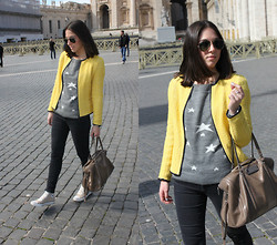 Leticia Da Silva - Zara Yellow Jacket, Mango Strars Sweater, Bimba & Lola Bag - Yellow jacket