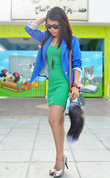 Jaque Aragon - H&M Bodycon Dress, Wholesale Dress.Net Sapphire Blue Blazer - Coz it's St. Patrick's day
